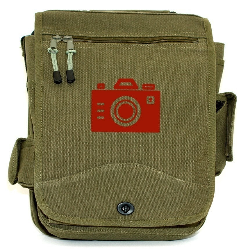 Iconic Red Camera Carry All Bag Army Green