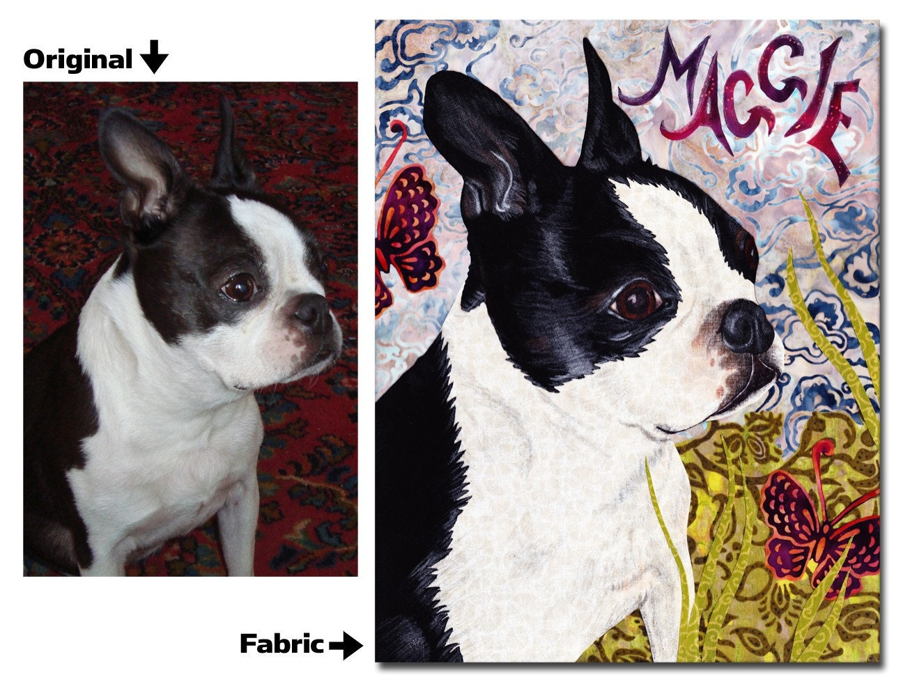 Boston Terrier - Custom pet portraits - Turn your pet into art - NO FRAME NEEDED
