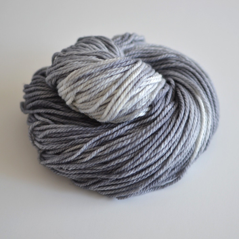 Hand Dyed Yarn - Merino Cashmere Nylon Blend - 181 Yards Bulky Weight - Storm Cloud - Variegated Light and Dark Gray - ToilandTrouble
