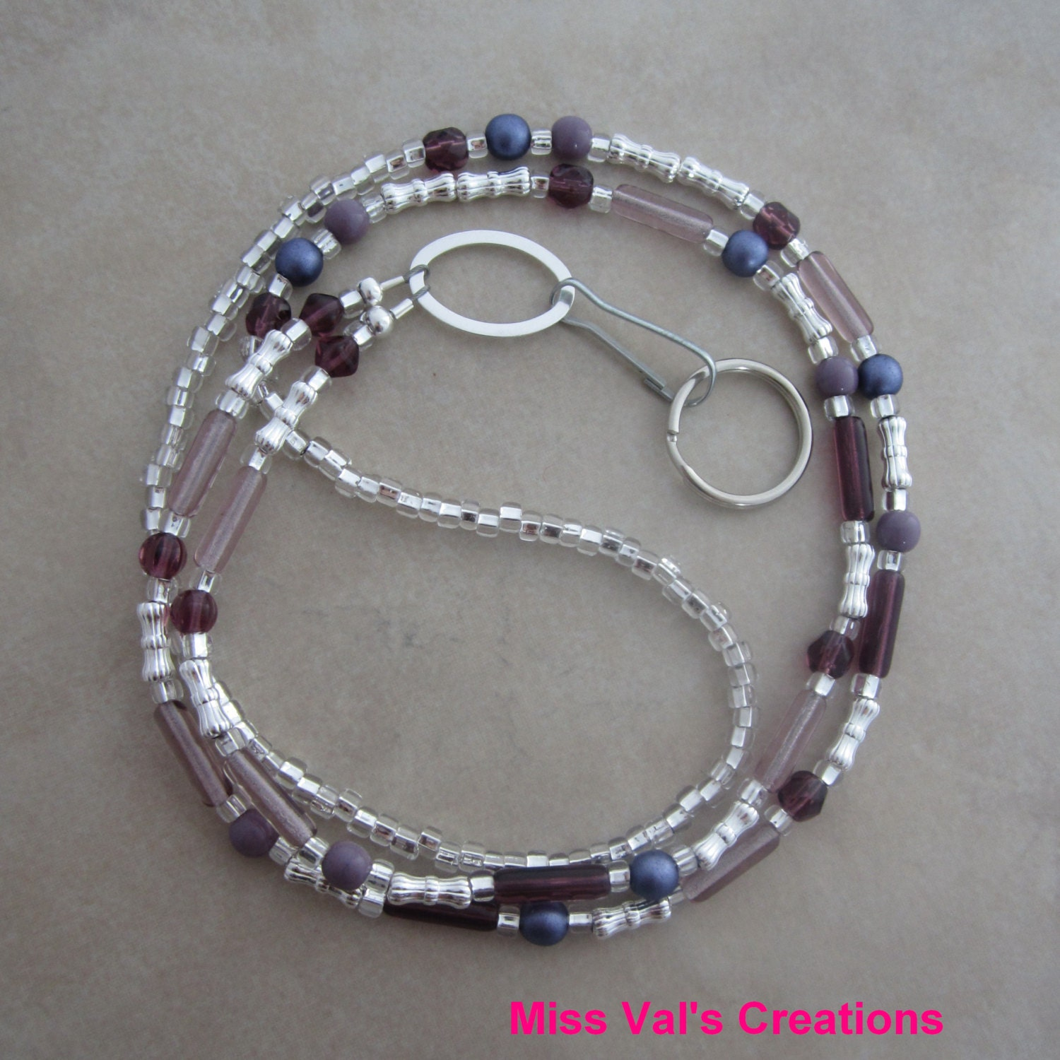 Purple and silver beaded badge id lanyard by missvalscreations