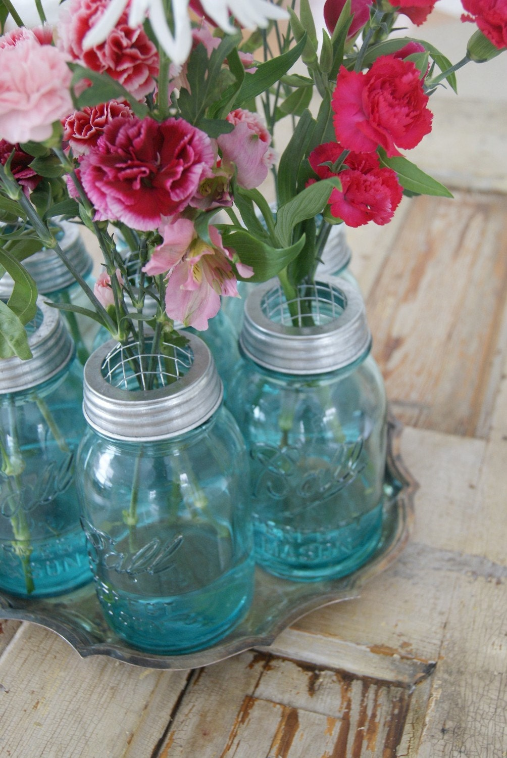 Blue Ball Mason Jar Flower Frog Vase