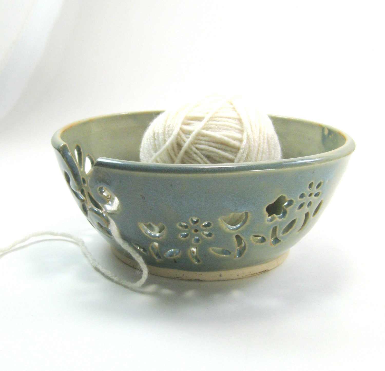 Crochet Yarn Bowl : Ceramic Yarn Bowl Knitting Crochet Bowl Knitting Supplies flowers
