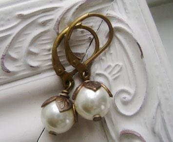 art nouveau pearls- earrings