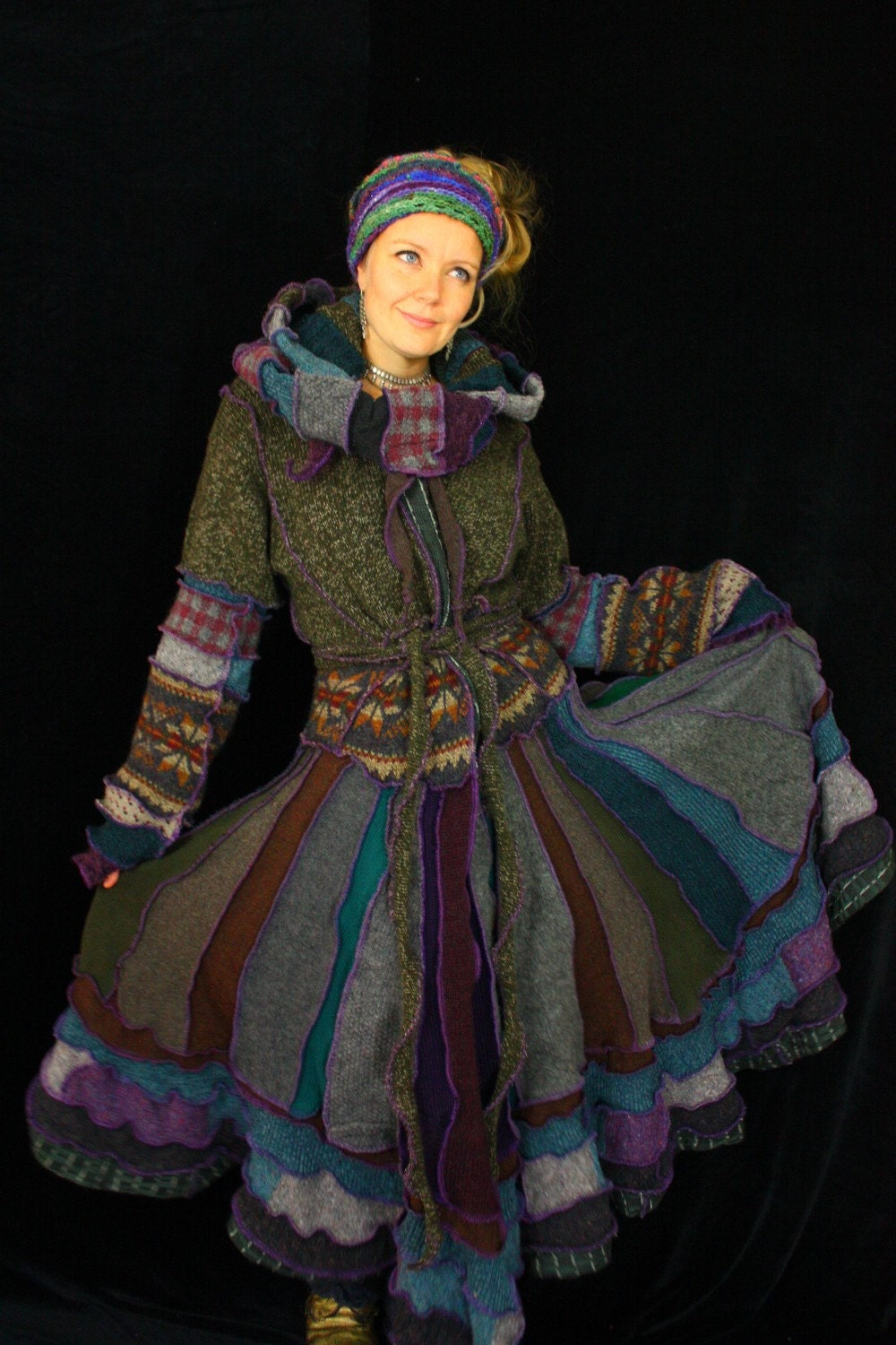 RESERVED FOR ABBY FREESPIRIT - ELF COAT - Long Recycled Sweater Coat -crazyquilt gypsy traveller festival pixie cloak -  upcycled Cadigan jumper