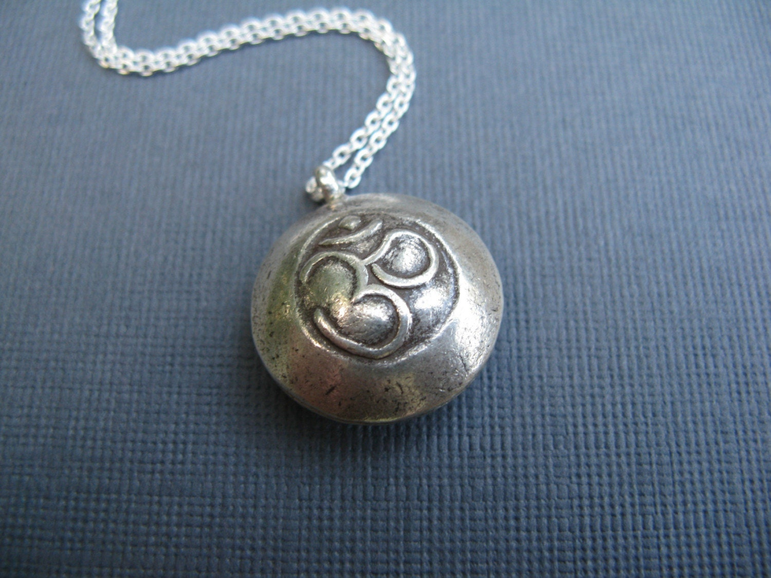 O M - Sterling Silver Chain with Fine Silver Handmade Om Disc Pendant for Yoga Lovers