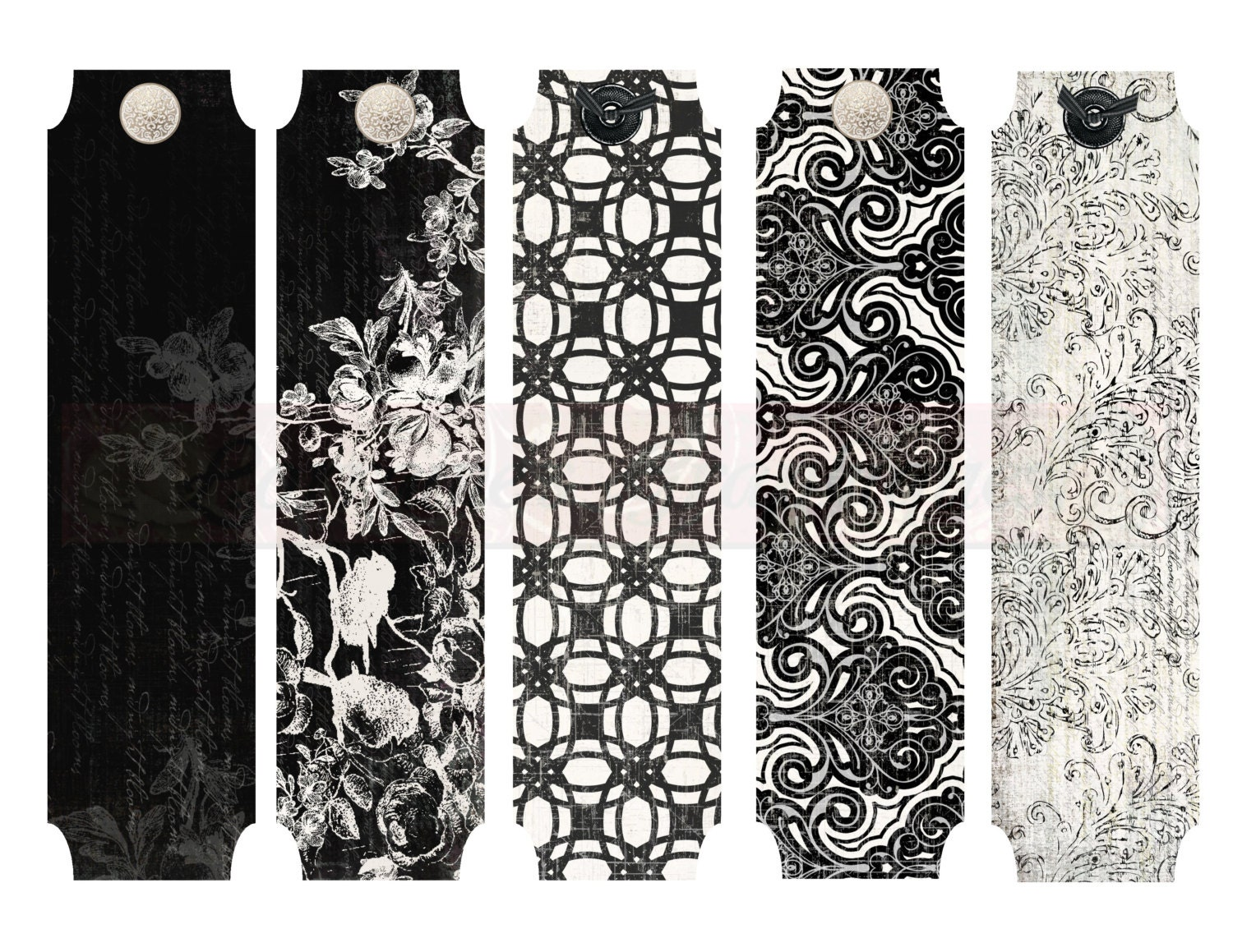 It is a picture of Wild Printable Bookmarks Black and White