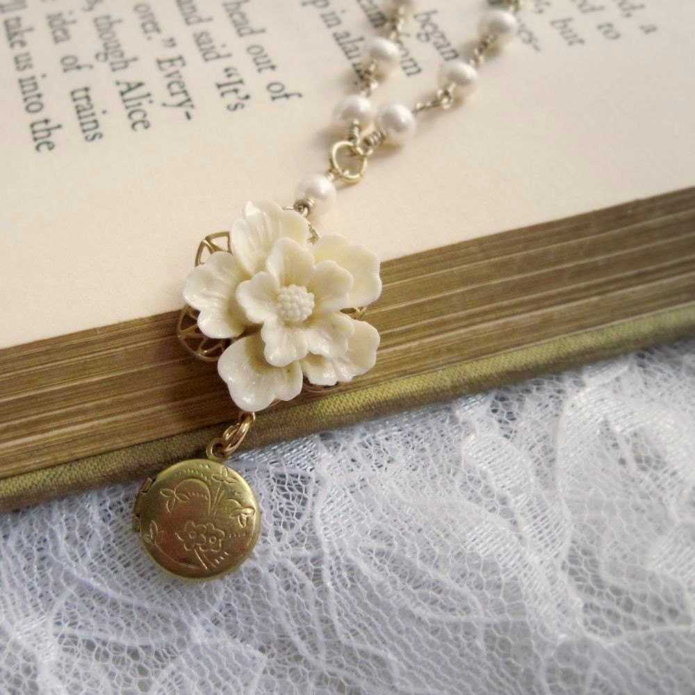 Necklace. Jewelry, Vintage Locket, Sakura Flower, Cream, Freshwater Pearls, Gold Filled. White Roses. Vintage inspired jewelry by Lauren Blythe Designs Jewelry on Etsy.