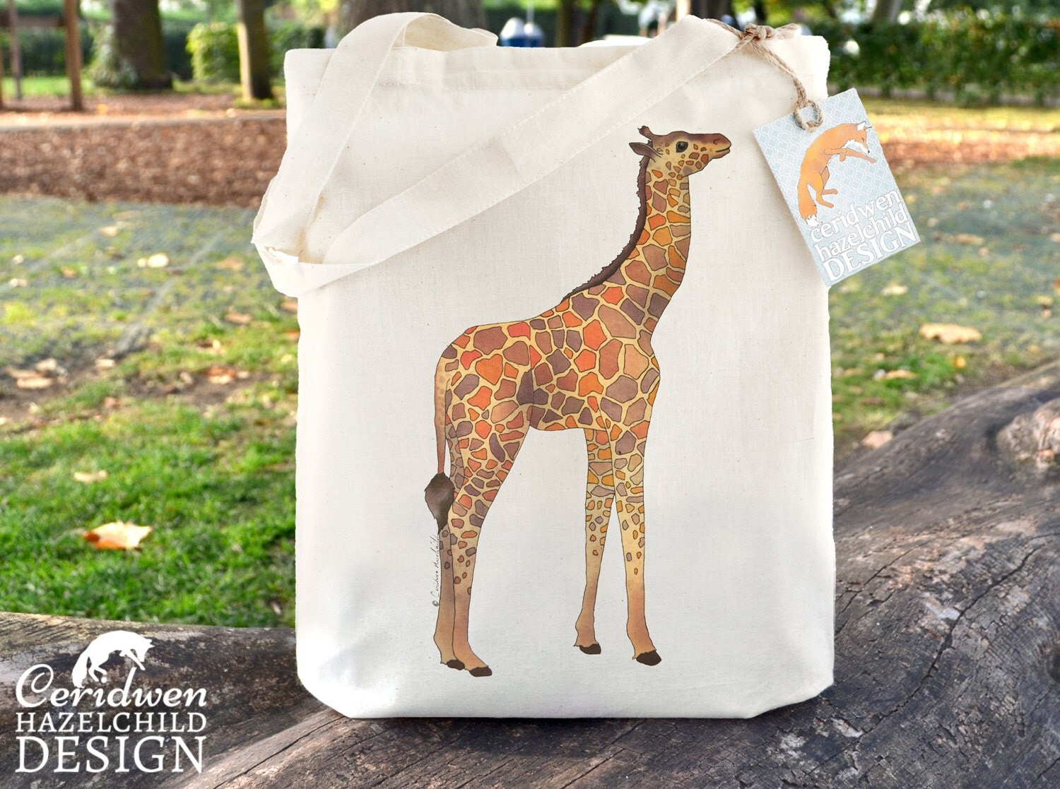 Giraffe Tote Bag Ethically Produced Reusable Shopper Bag Cotton Tote Shopping Bag Eco Tote Bag