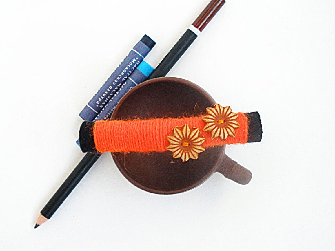 Black and orange hair accessory with buttons, orange and black barrette - HandMadeWind
