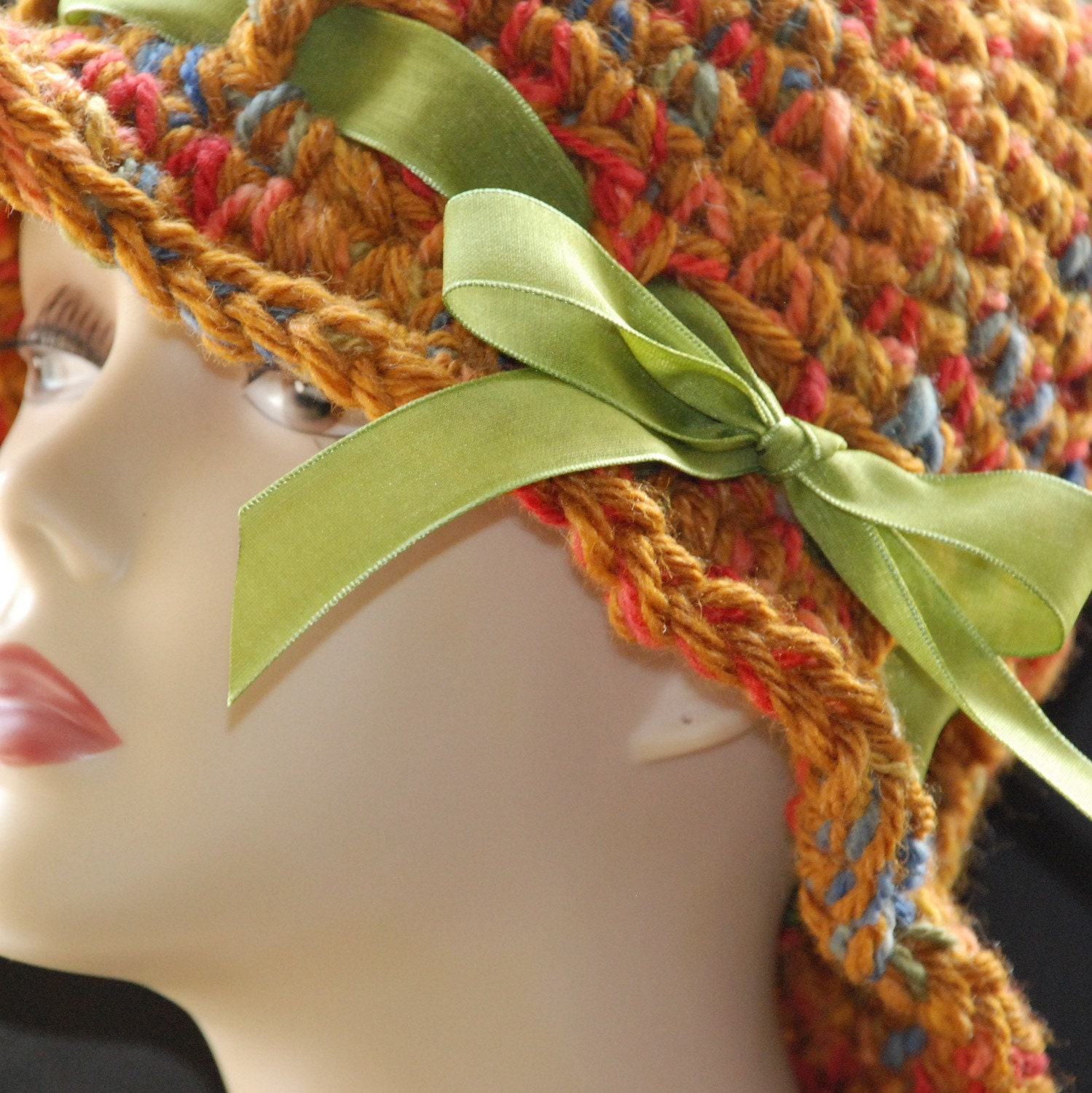 Crochet cloche with ribbon trim