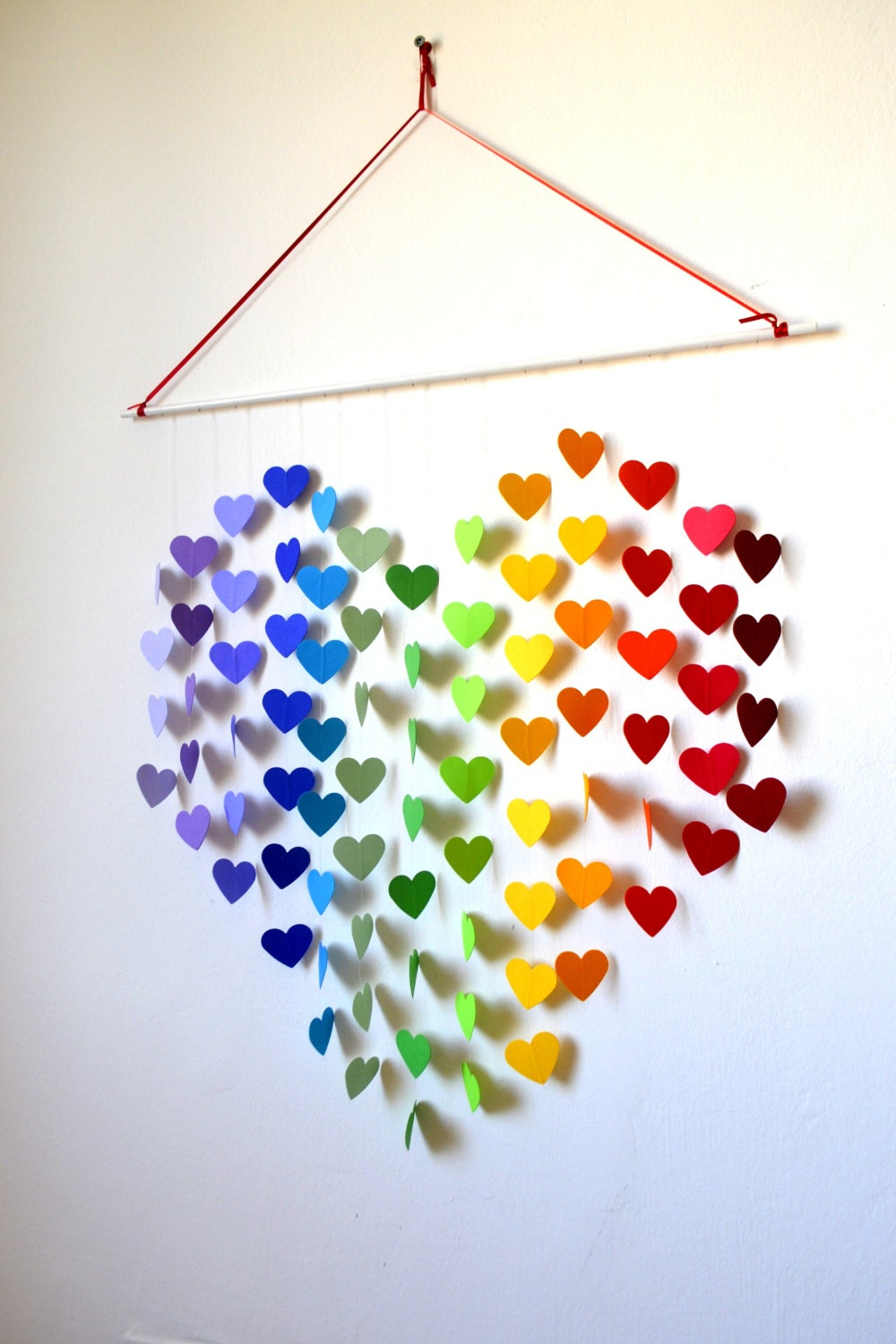 Heart Wall Decor With Pictures : Items similar to diy paper mobile kit rainbow heart