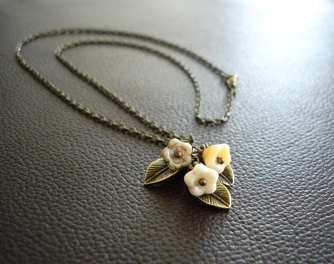 Wedding Lily Flower beaded Antique Brass Necklace