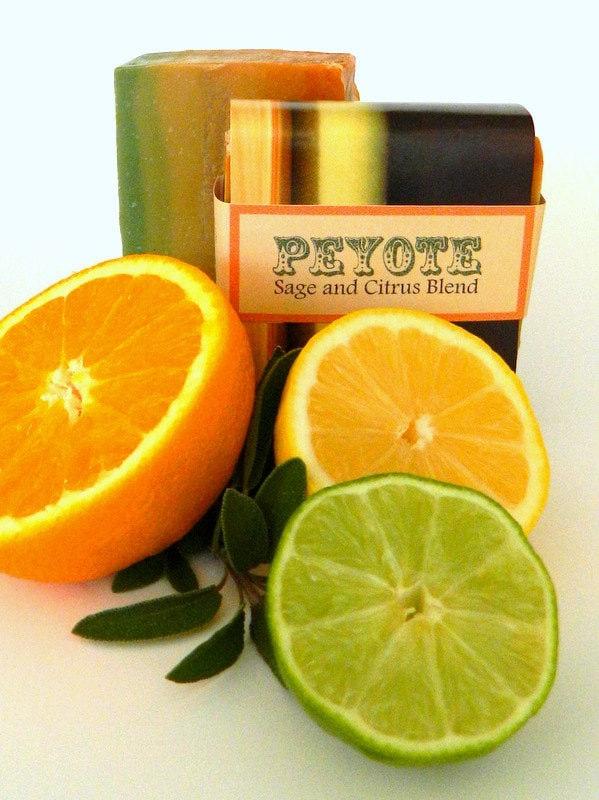 PEYOTE:  Citrus Sage Artisan Soap / Cold Process Soap, Handmade Soap, Vegan Soap / Colorful Summer - SoapForYourSoul
