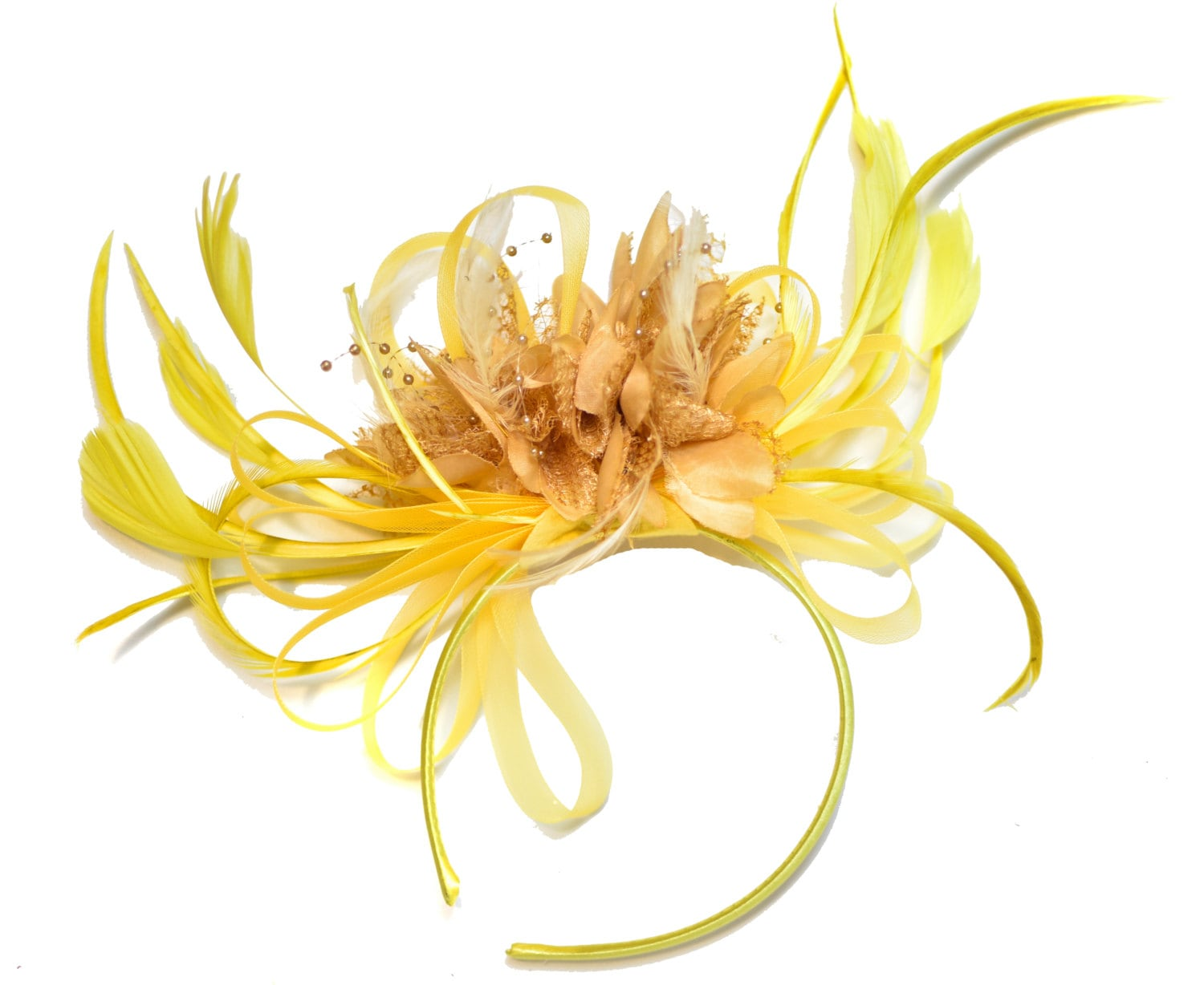 Bright Yellow  Camel Beige Feathers Fascinator on Headband Alice Band UK Wedding Ascot Races Derby
