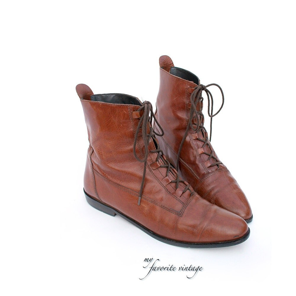 size 8 italian brown leather ankle boots by tanakavintage