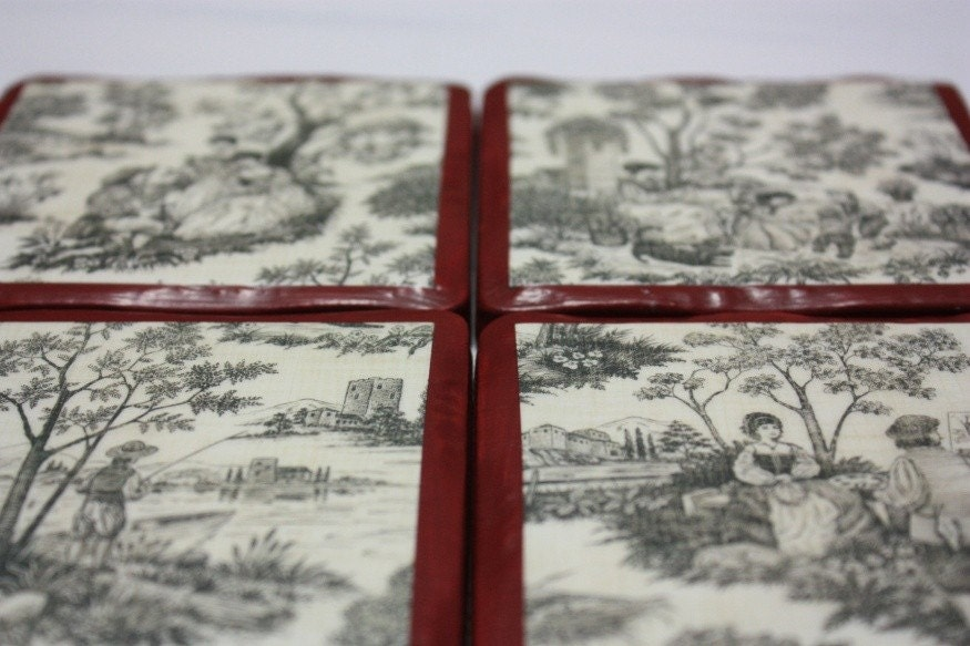 Red Toile Coasters