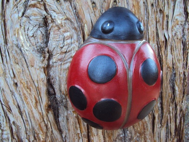 Ladybug Stone Garden Wall Hanging Home Decor By