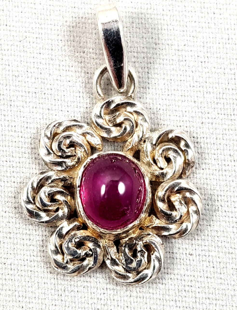 Pink Star Ruby and Silver Pendant