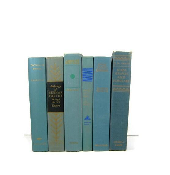 Teal Blue Collection Vintage Decorative Book - DecadesOfVintage