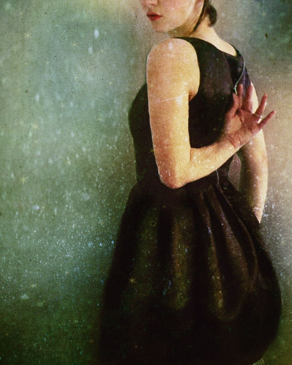 30% OFF SALE Undress 5x7 Print - sage green celadon black dress romantic painterly photograph dreamy photography
