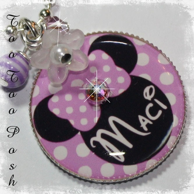 YOU CHOOSE COLOR Personalized Minnie Mouse Polka Dot Bezel Set Pendant Necklace