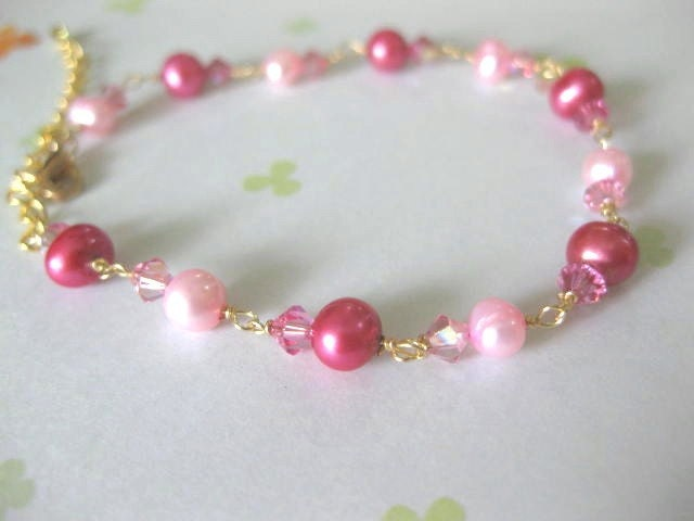 strawberry pink. pearl bracelet.