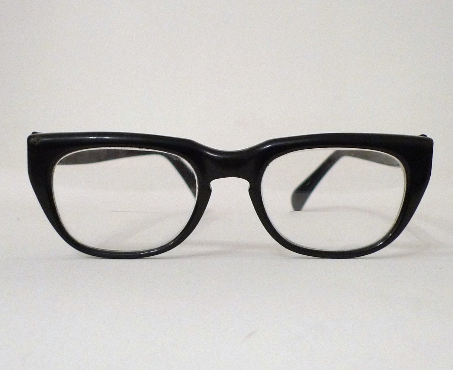 Black Horn Rimmed USA Eyeglasses, Sixties, Classic Mad Men, Birth Control Prescription Eye Glass Frames 1950s 1960s