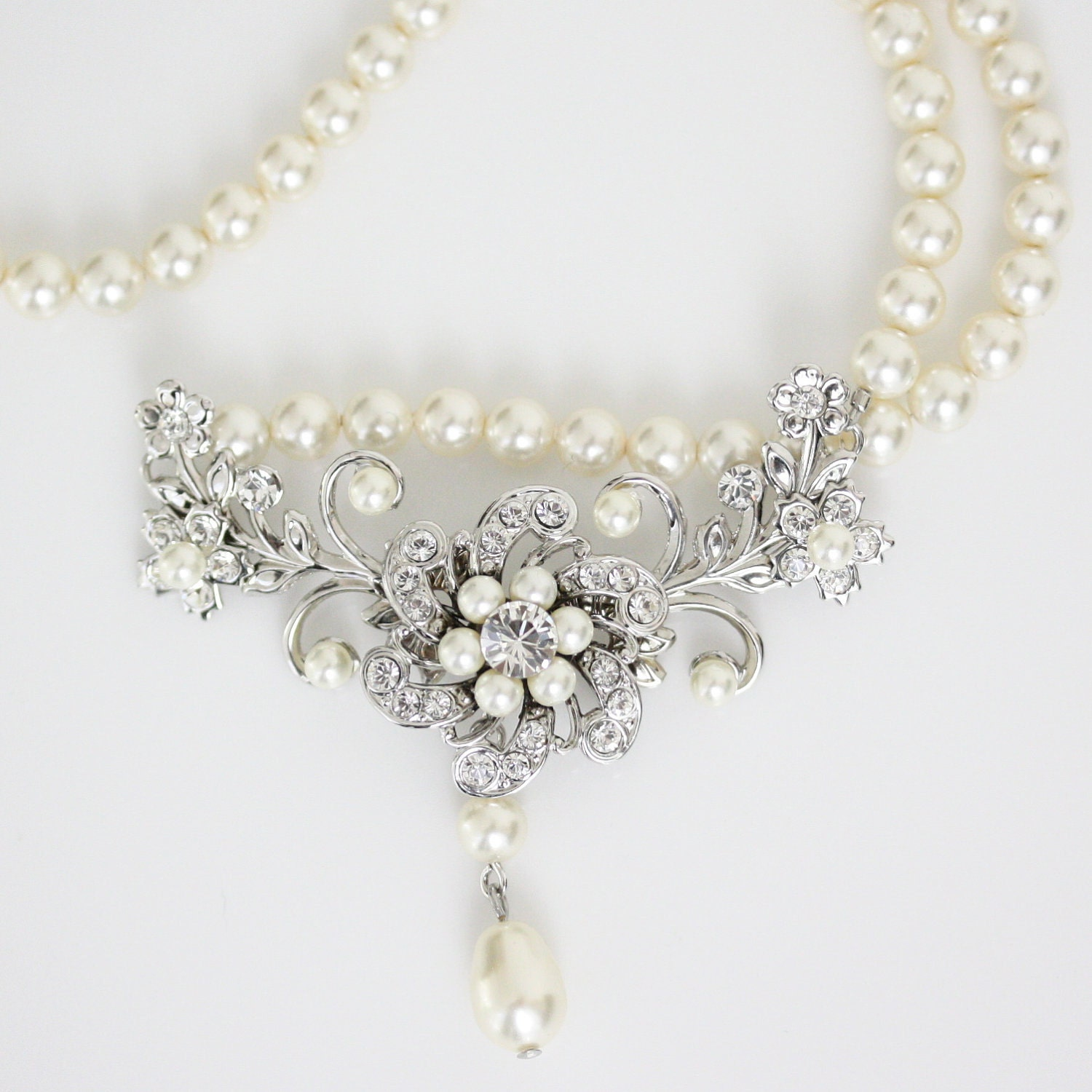 Wedding Jewelry Ivory Pearl Necklace Vintage By LuluSplendor