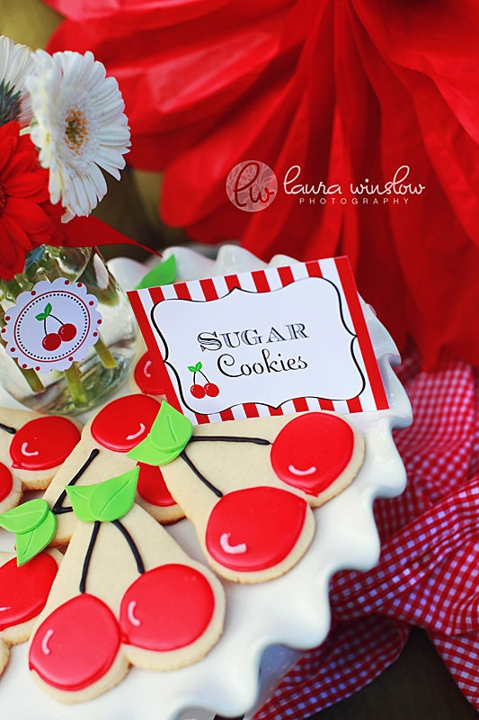 PRINTABLE Fancy Labels - Cherry Picnic Party Collection - The TomKat Studio