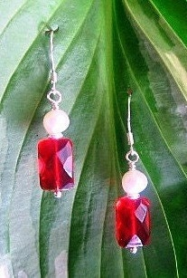 Garnet Glass and Natural Pearl Earrings