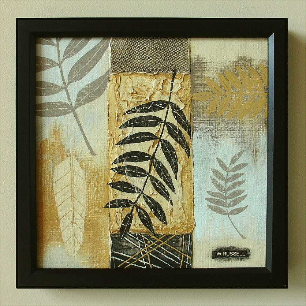 Framed Original Painting Leaves Silhouette I