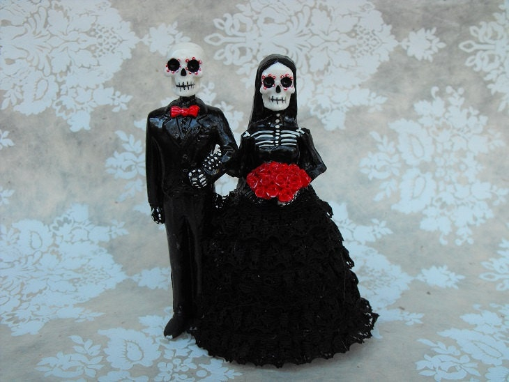 day of the dead wedding cake topper shaved head guy 5 inches