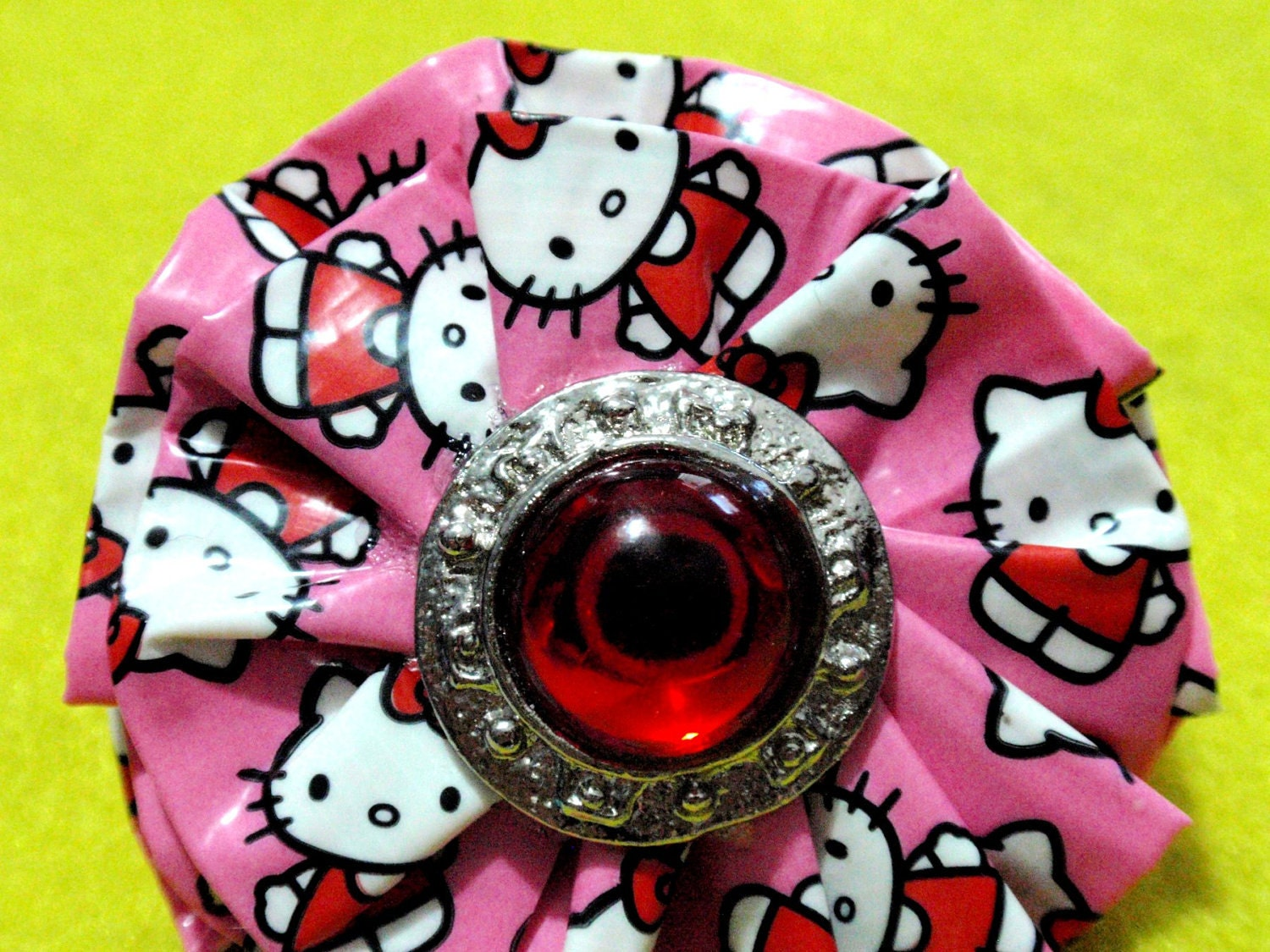 Pink hello kitty ruffle flower ring duct tape