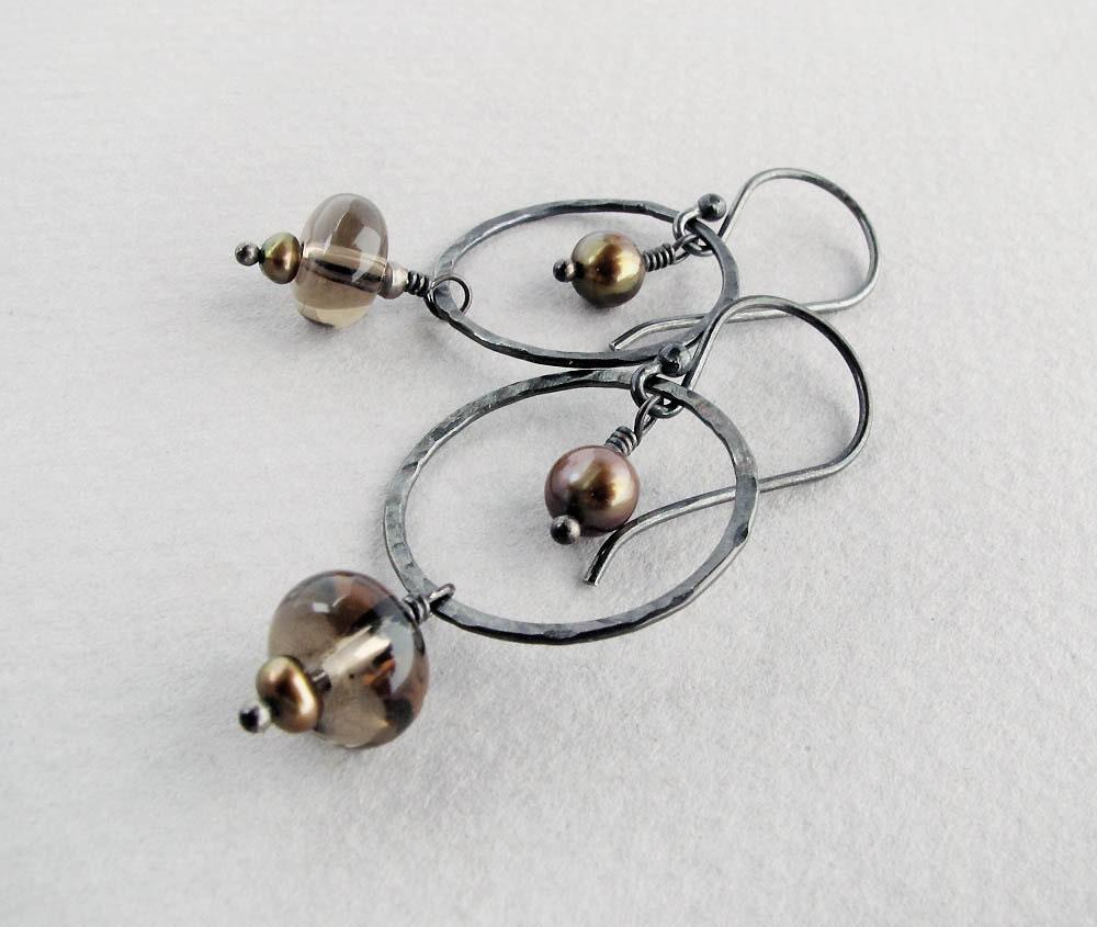 brown earrings smoky quartz earrings pearl earrings dangle earrings rustic earrings boho earrings silver earrings simple earrings CIJ - SharonClancyDesigns