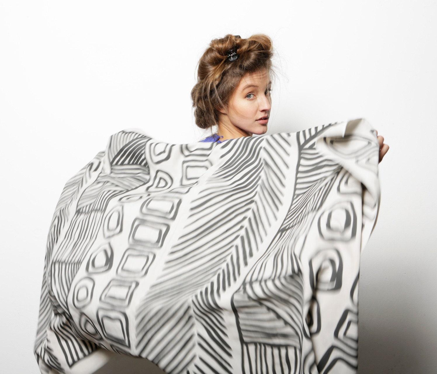 SALE 12% Huge Designer scarf, Grey and Black hand printed woman shawl, Original design, Handmade by Dikla Levsky - DiklaLevskyDesign