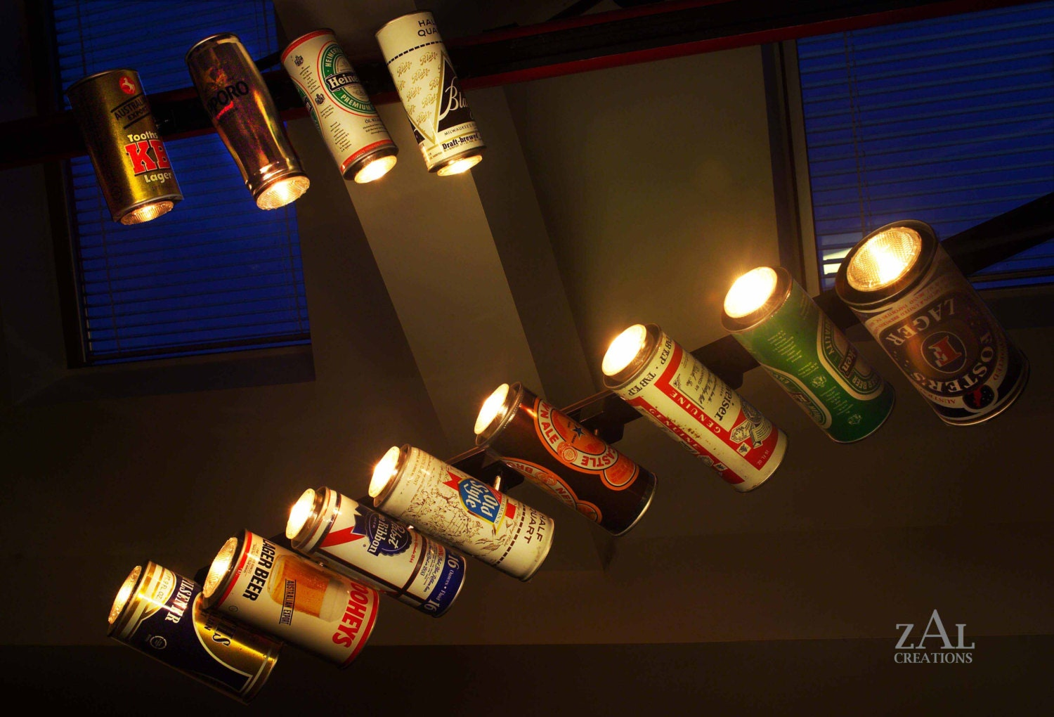 vintage beer can track light 1 by zalcreations on etsy