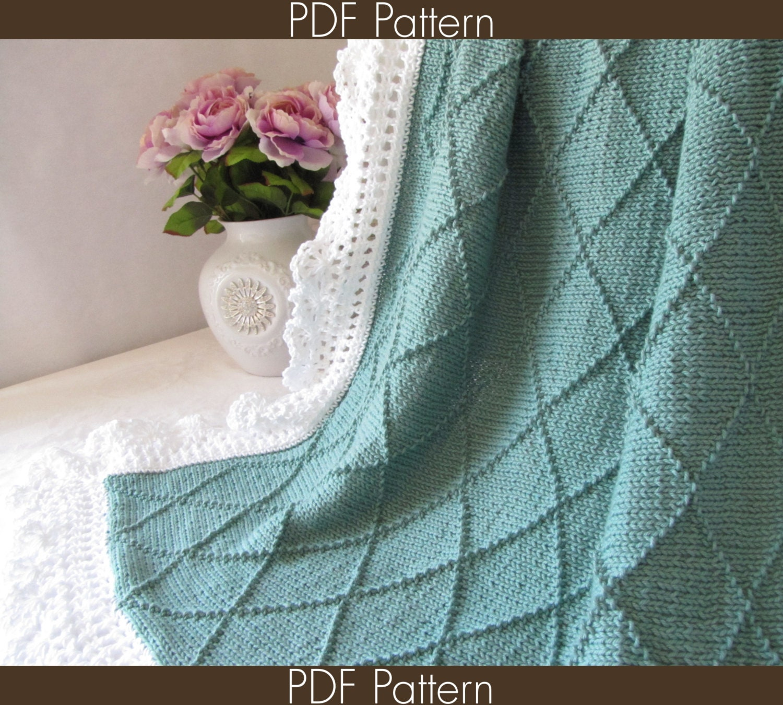 Knit Baby Blanket PATTERN 63 - Paris - Knitting Symbol PATTERN 63 - Instant Download PDF Pattern - CaliChicPatterns