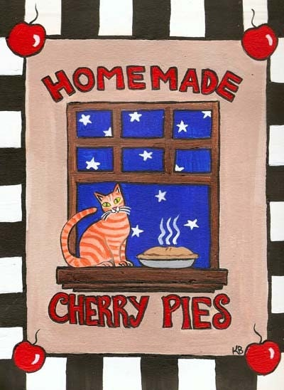 Homemade Cherry Pie Kitty Original Folk Art Painting