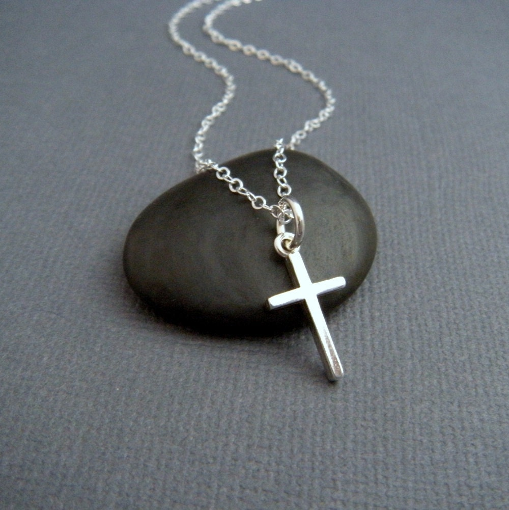 silver cross necklace small sterling silver by
