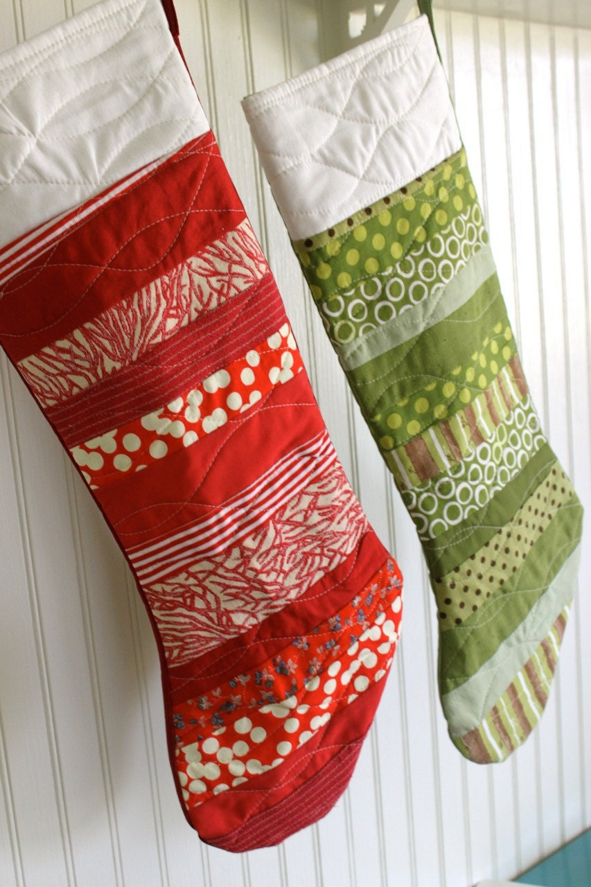 Modern Red Christmas Stocking by MonaLeisa on Etsy
