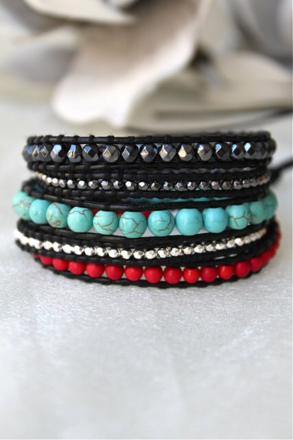 Black Turquoise Red Wrap Bracelet Chan Luu style - CitrusMangos