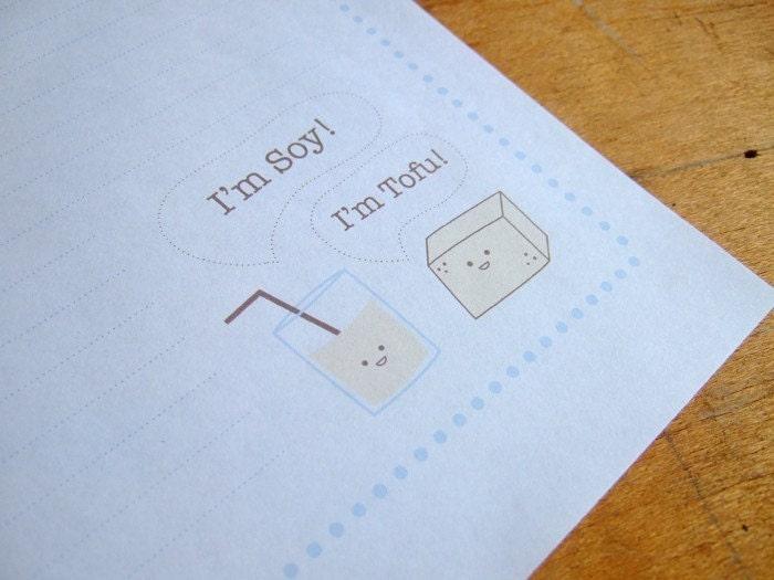 Soy and Tofu Letter Writing Set - Printable PDF