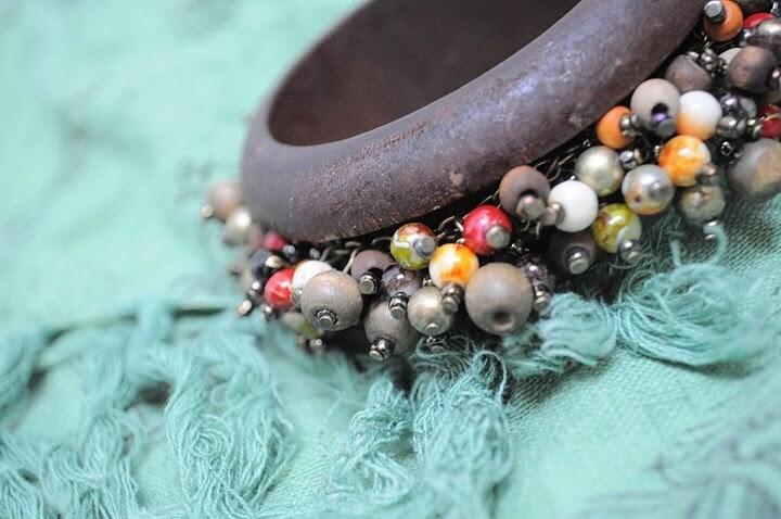 Wooden Beaded Bangle Bracelet SALE