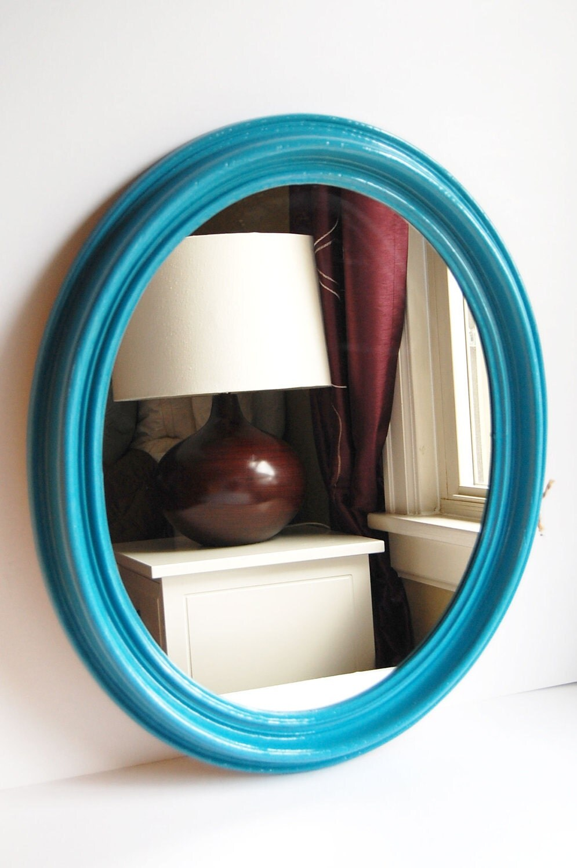 Reserved vintage large teal blue oval mirror by for Teal framed mirror