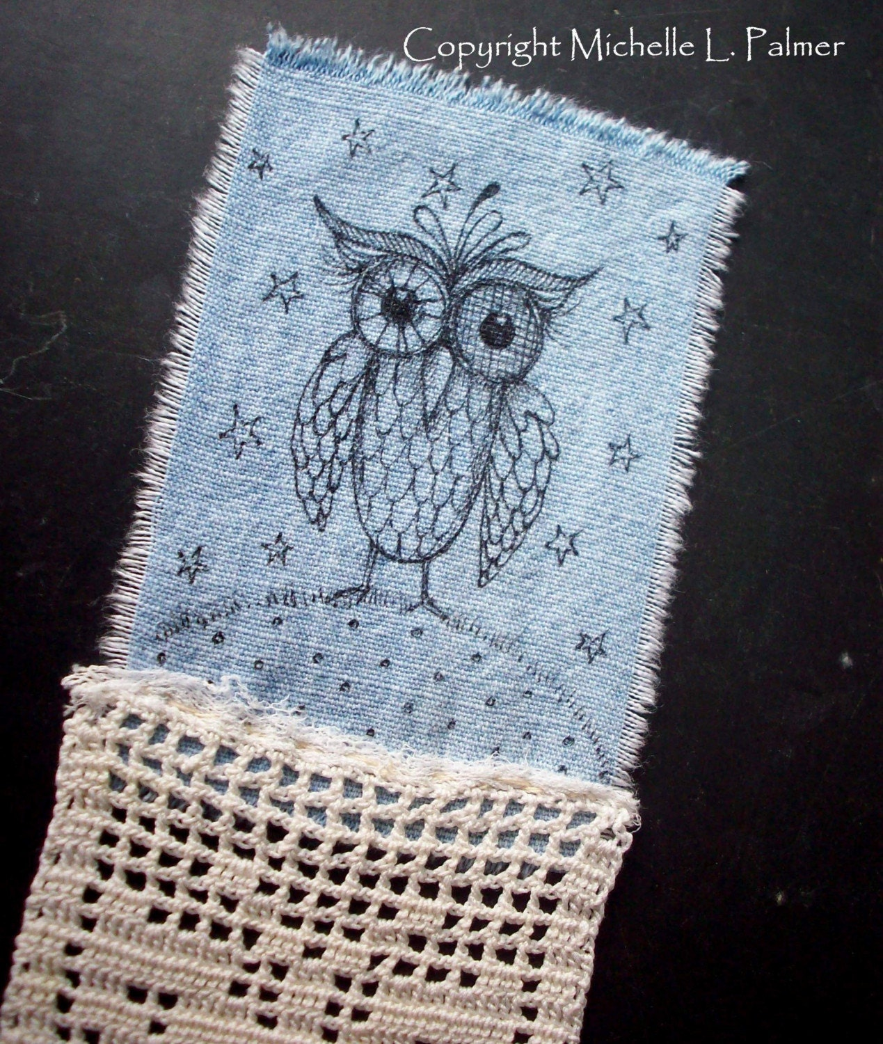 Owl Bookmark Vintage Linen Art Original Illustration on Fabric