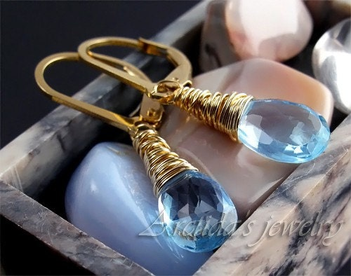 Sky blue Topaz 14K gold filled wire wrapped earrings  by Arctida from etsy.com