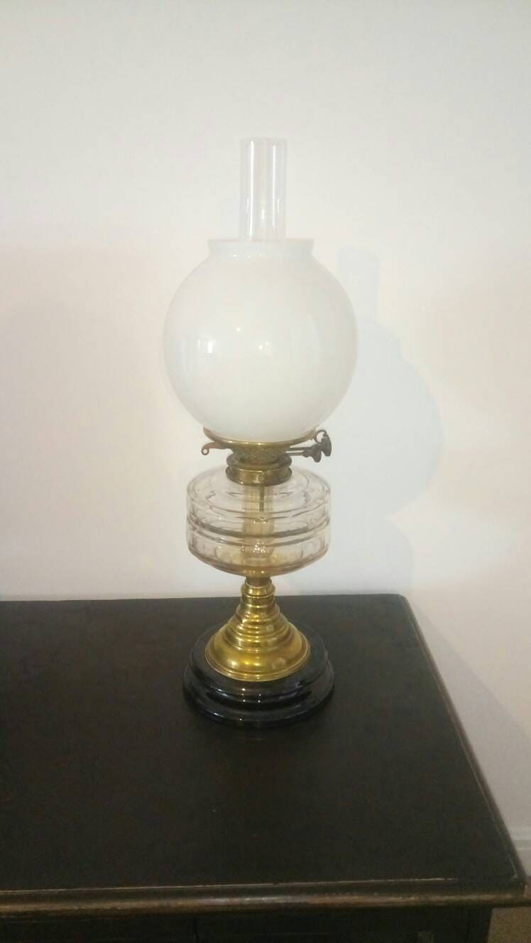 Victorian Messengers Patent Glass Oil Lamp.