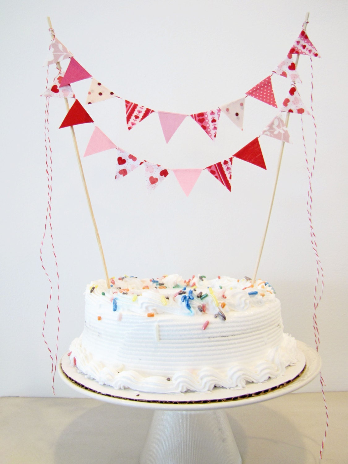 "Fabric Cake Bunting Decoration - Cake Topper - Wedding, Birthday Party, Shower Decor in ""Cupid"" Valentines pink, red, hearts, dots, floral"