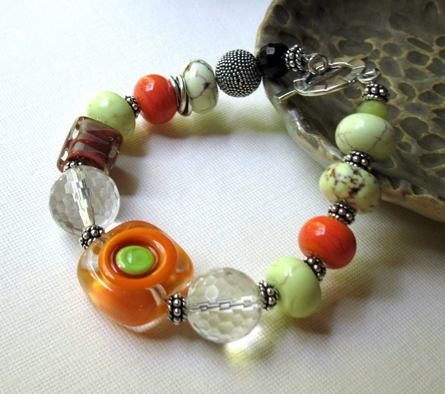 lime orange silver eclectic bracelet Got my by cooljewelrydesign sterling
