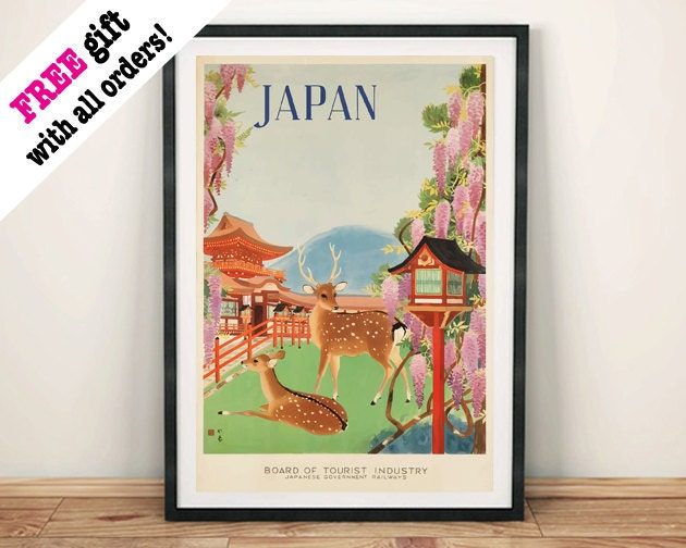 JAPAN TRAVEL POSTER Vintage Japanese Deer Advert Art Print Wall Hanging